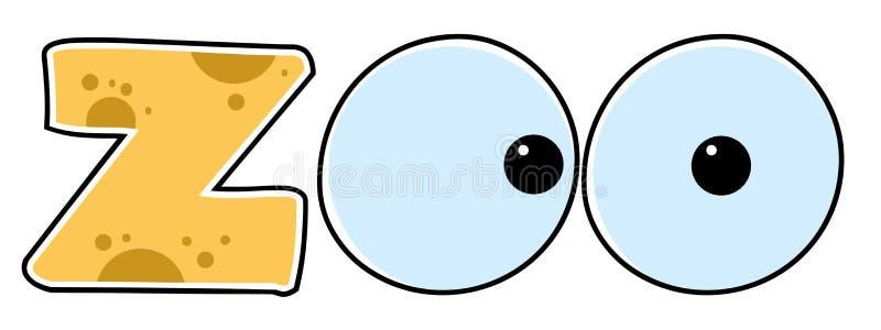 Cartoon ZOO text vector illustration