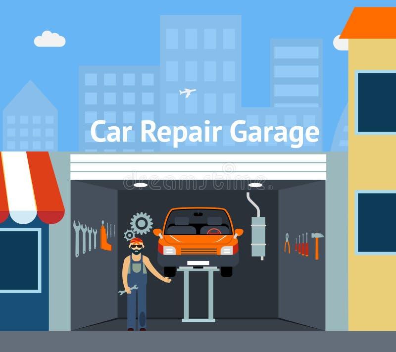 Cartooned-Auto-Reparatur-Garage lizenzfreie abbildung