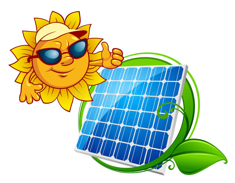 Cartooned cheerful sun with blue solar panel. Solar energy panel bordered green stem with leaves and smiling sun in sunglasses in cartoon style vector illustration