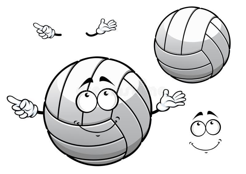 Cartooned die witte volleyballbal glimlachen stock illustratie