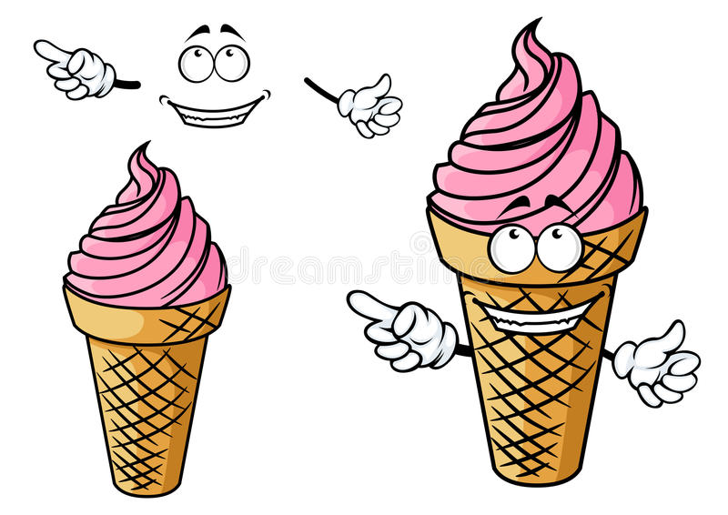 Cartooned-Erdbeerrosa-Eiscremecharakter vektor abbildung