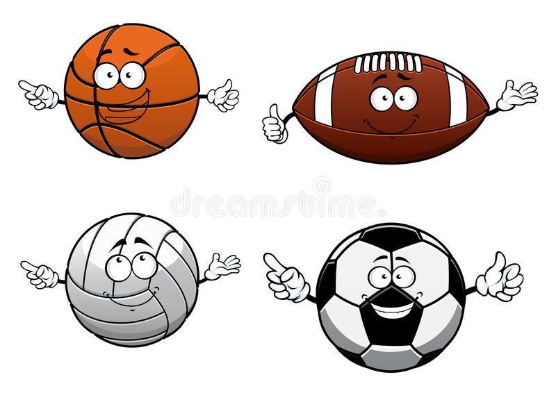 Cartooned folâtre des caractères de boules avec le visage heureux illustration de vecteur