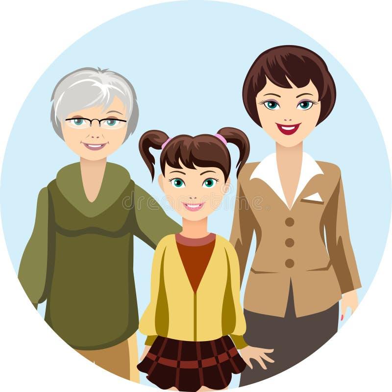 Cartooned-Frauen im unterschiedlichen Alter vektor abbildung
