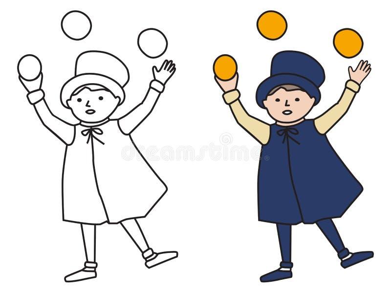 Cartooned-Grafik des Jongleurs Boy mit Schablone lizenzfreie abbildung