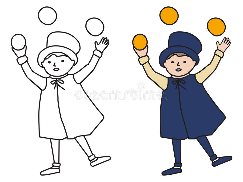 Cartooned Graphic of Juggler Boy with Template royalty free illustration