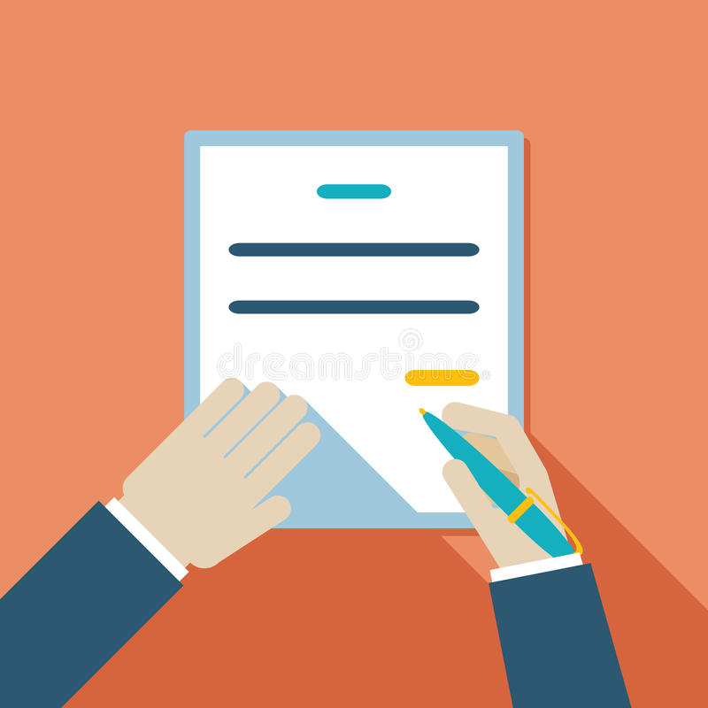 Cartooned Hand Signing Contract. Colored Cartooned Hand Signing Contract Graphic Design on Orange Background vector illustration