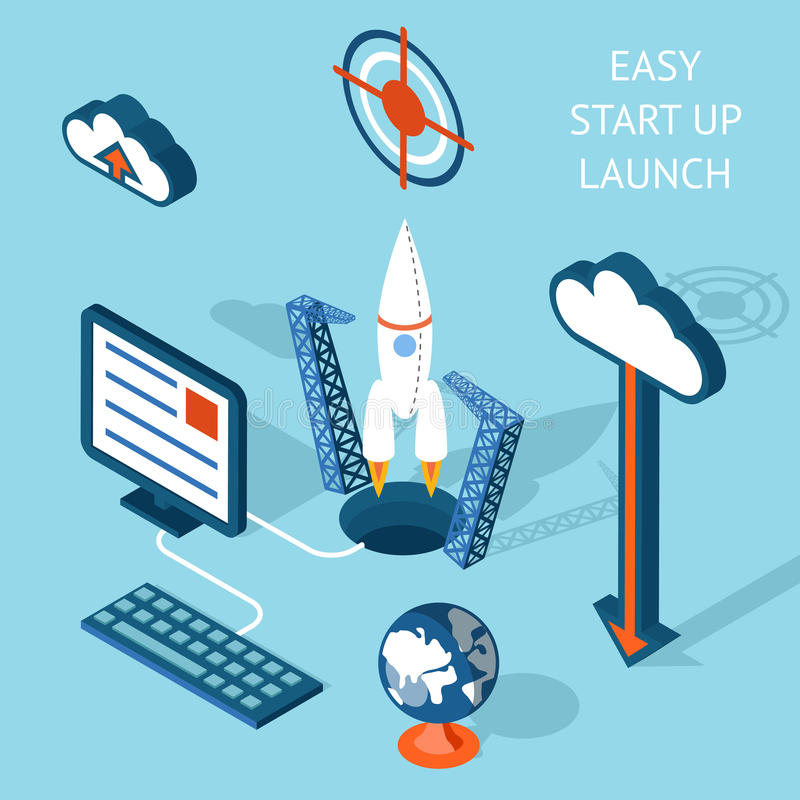 Cartooned lätt Start-up lanseringsInfographic design royaltyfri illustrationer