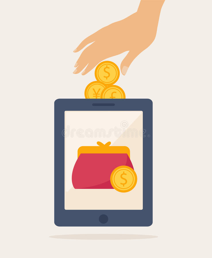 Cartooned Mobile Banking Idea Graphic Design royalty free illustration
