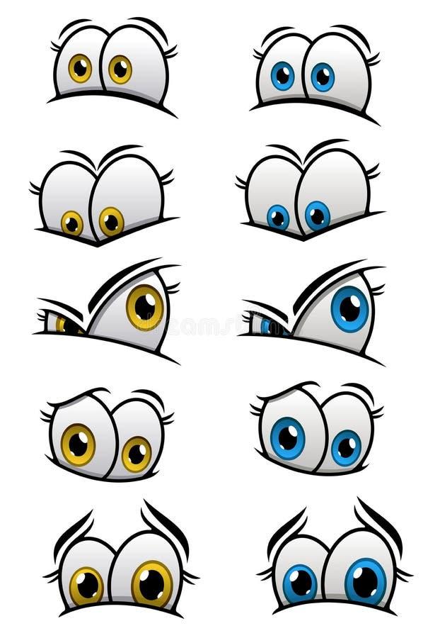 Cartooned observa con diversas emociones ilustración del vector