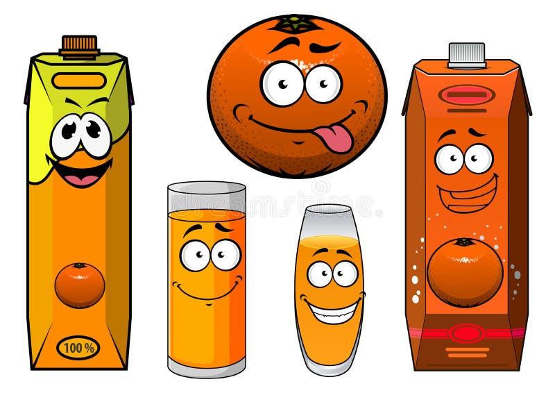 Cartooned oranje fruit, sapcontainers en vector illustratie