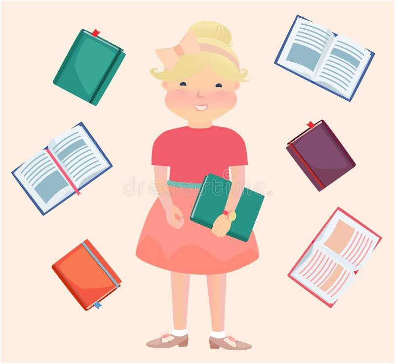 Cartooned-Schulmädchen umgeben durch Lesebücher lizenzfreie abbildung