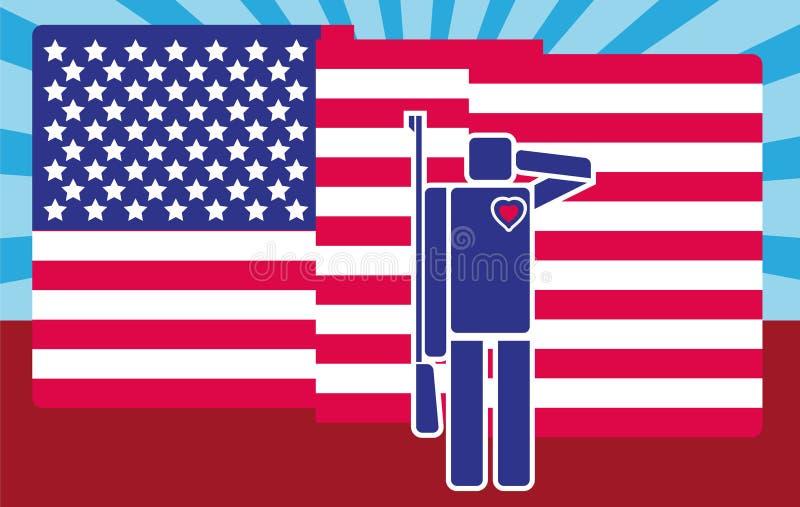 Cartooned-Soldat Saluting American Flag Piktogramm/flache Designart vektor abbildung