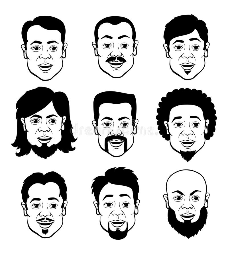 Cartooning Faces of the Man. Line Art Cartooning Faces of the Man with Different Hairstyles - Black and White Set of Illustrations vector illustration