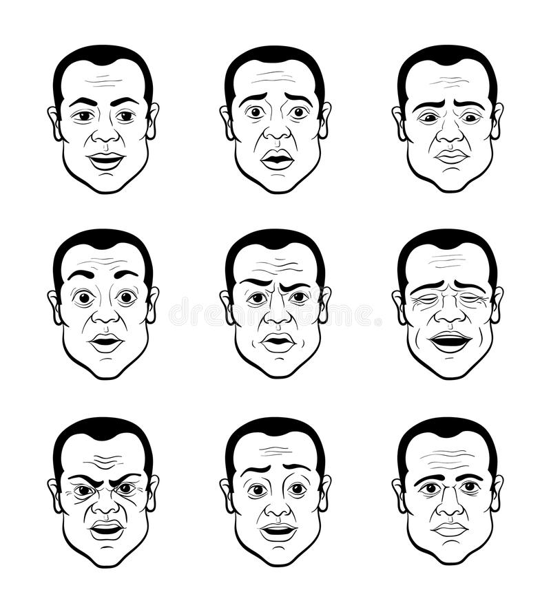 Cartooning Faces of the Man. Line Art Cartooning Emotional Faces of the Man - Black and White Illustration royalty free illustration