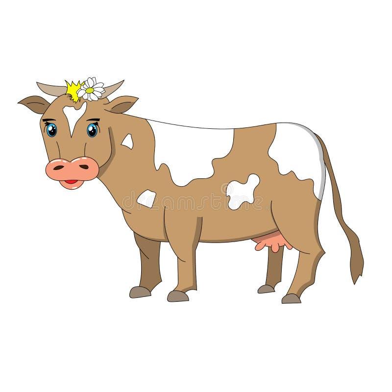 Cartoonish bruine en witte koe stock foto's