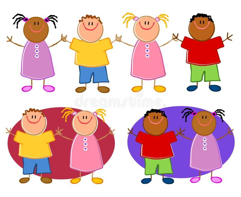 Download Cartoonish Children Holding Hands Stock Illustration - Illustration of cartooned, drawing: 5026522