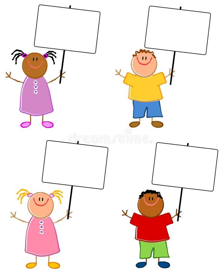 Cartoonish Children Holding Signs stock illustration