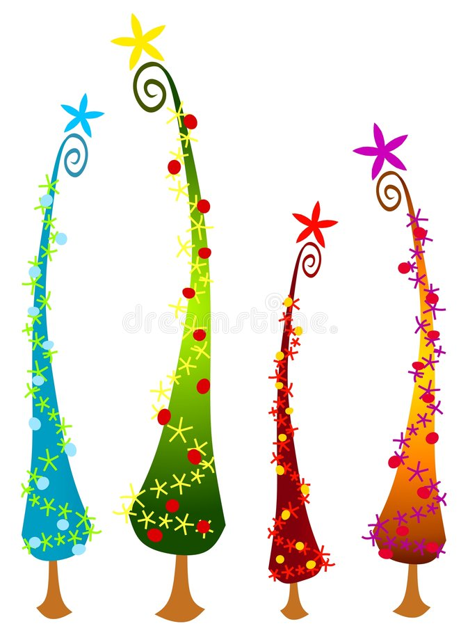 Cartoonish Christmas Trees 2. An abstract clip art illustration of tall cartoonish Christmas trees in your choice of blue, green, red and gold topped with stars royalty free illustration