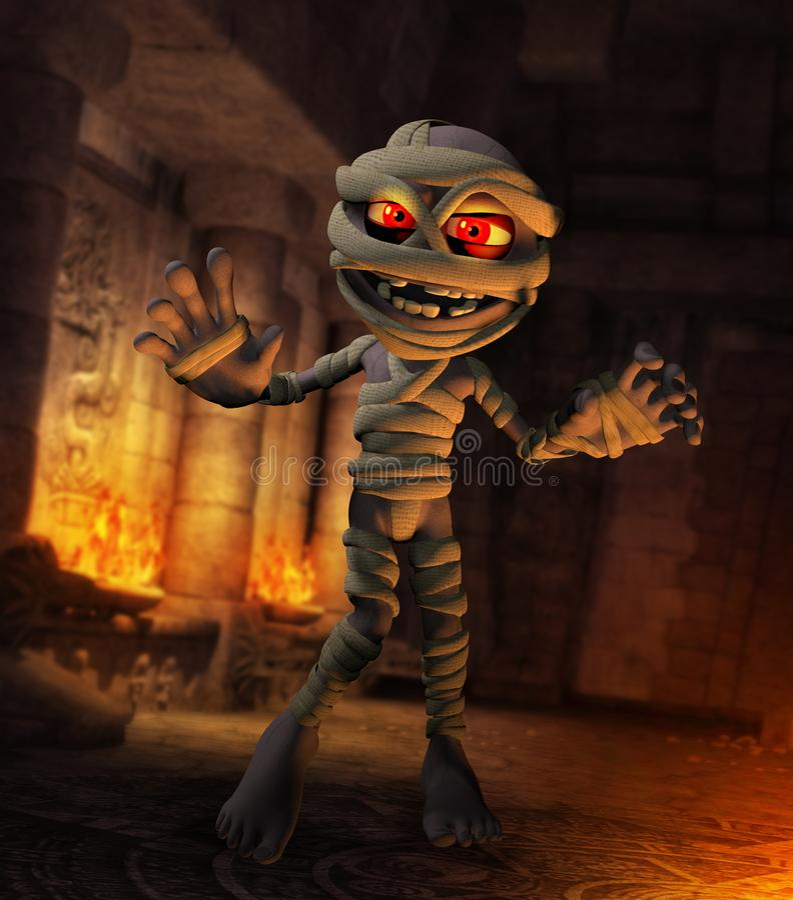 Cartoonish Funny Monster Mummy Egyptian Temple royalty free illustration