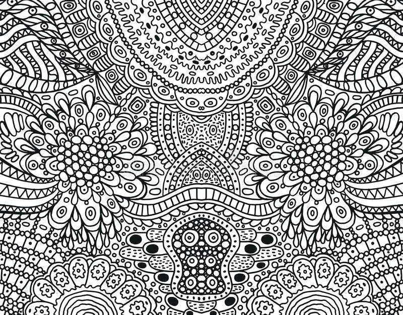 Cartoonish hippie ornament - coloring page for adults. Black and white doodle background. Vector illustration.  vector illustration
