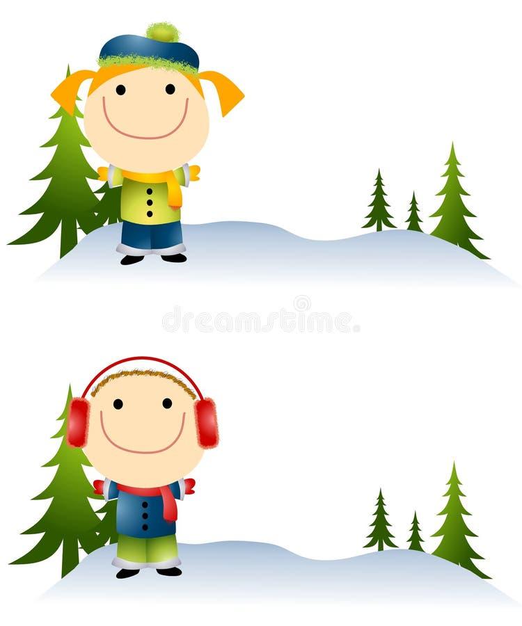 Cartoonish Kids in Snow vector illustration