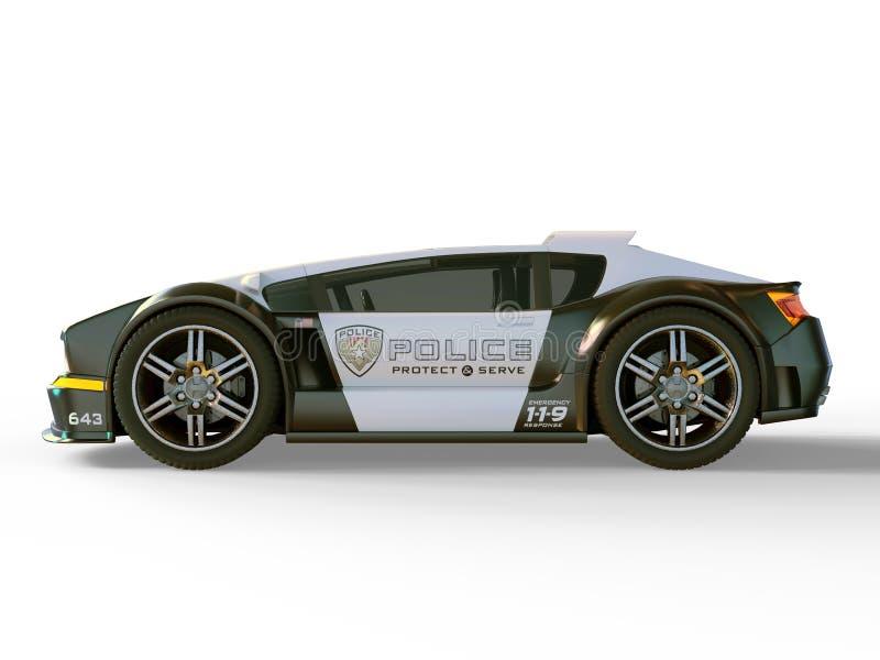 cartoonish samochodowy wizerunek odizolowywał stylowego policja biel ilustracja wektor