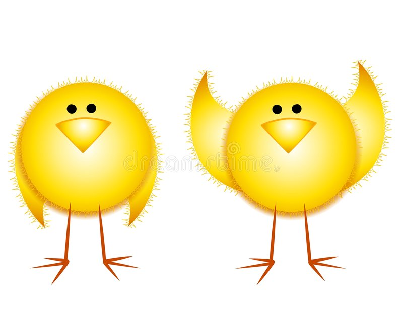 Download Cartoonish Yellow Easter Chicks Stock Image - Image: 4041751
