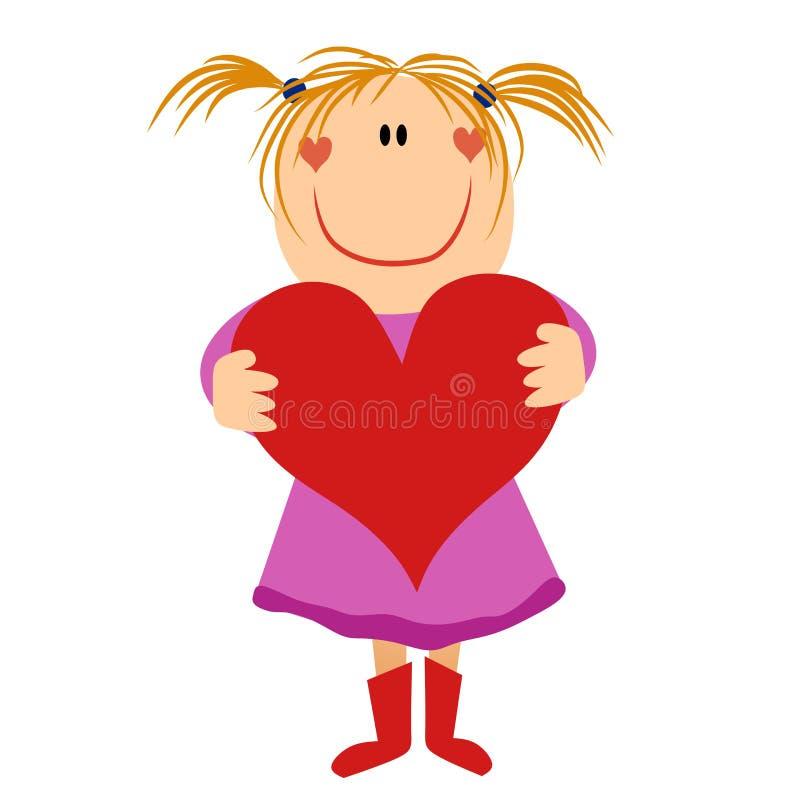 cartoonishflickahjärta som rymmer little valentin stock illustrationer