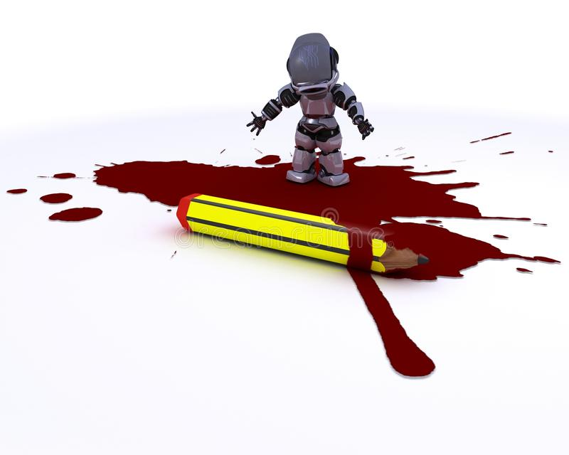 Cartoonist robot with pencil and blood stock illustration