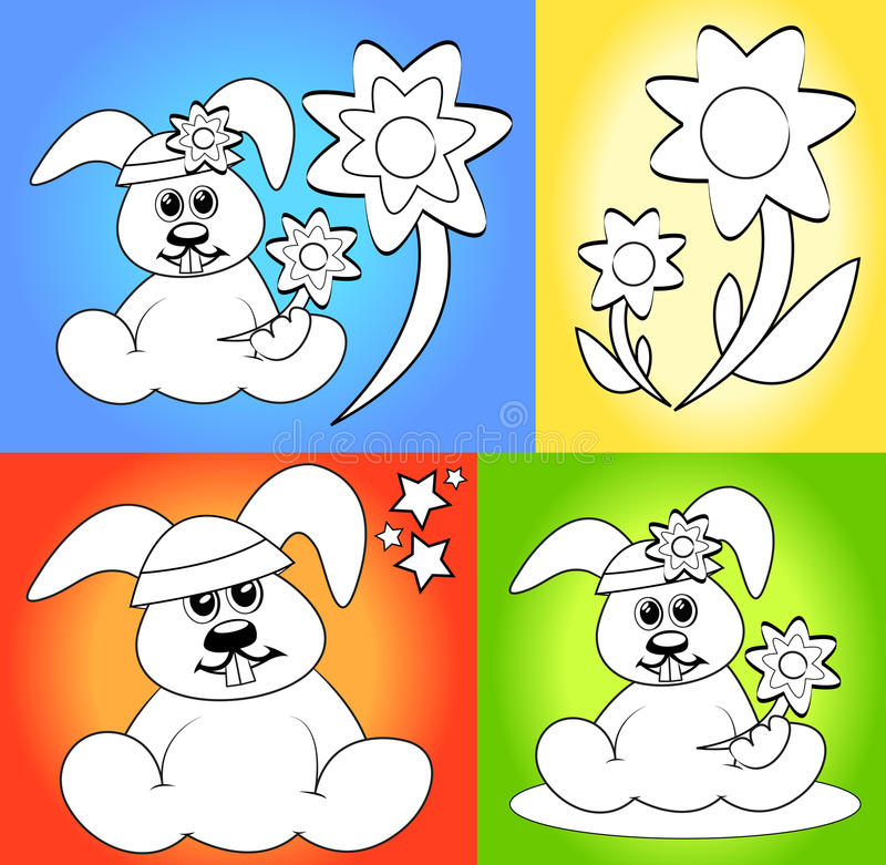 Cartoons for coloring book pages stock illustration