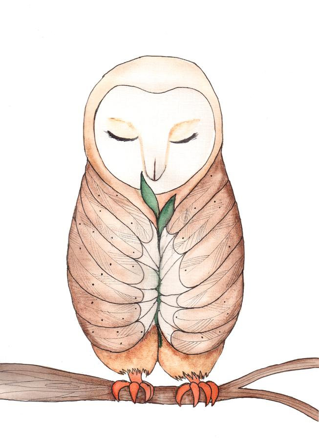 Cartoons watercolors barn owl with small sprout on a branch stock illustration
