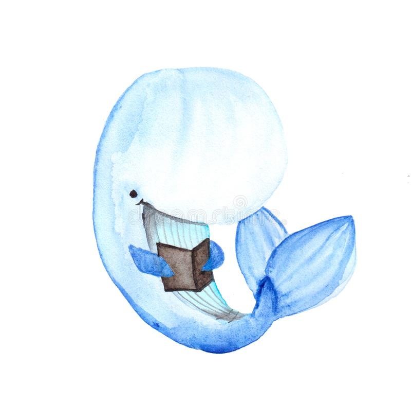 Cartoons watercolors cute whale with small book stock illustration
