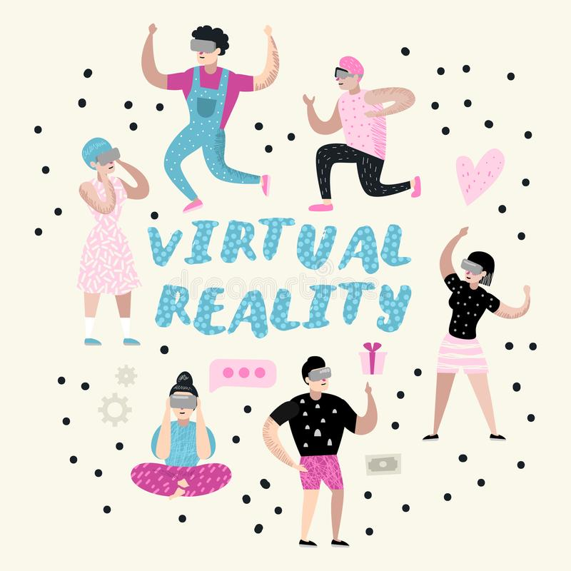 Cartoons Wearing Virtual Reality Glasses. VR Headset. Girls and Boys Characters Playing Video Games stock illustration