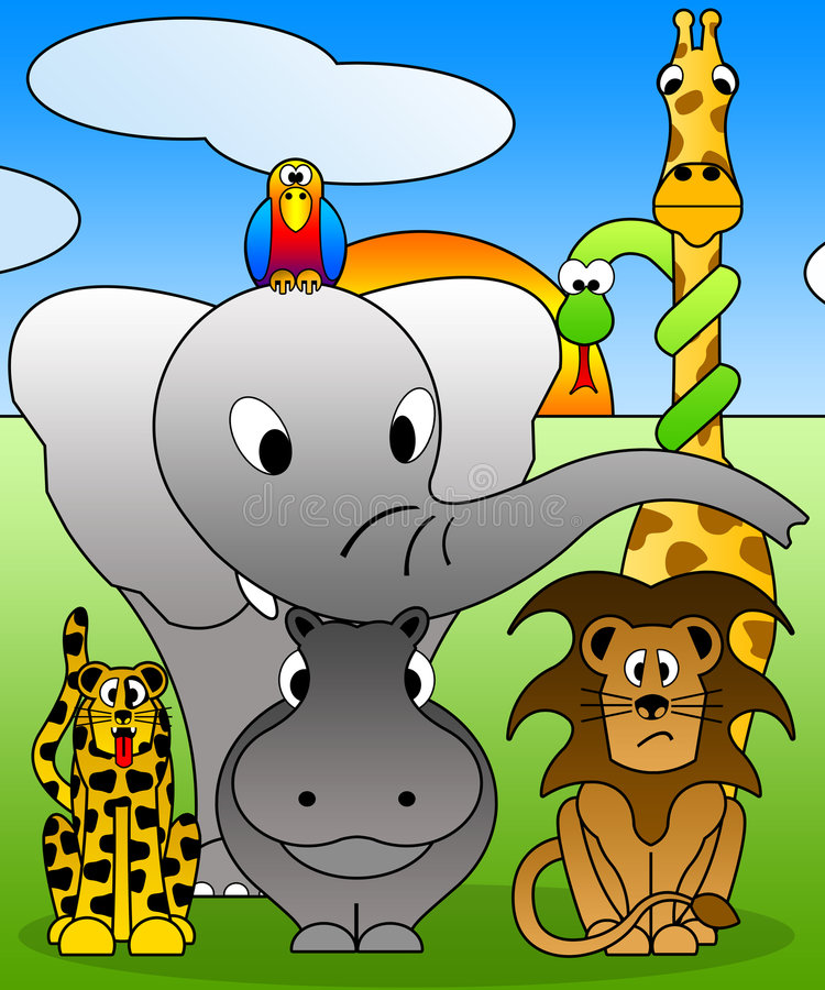 Cartoons Zoo. Illustration with some animals like cartoons style. Good for funny poster or for photo frame, and others graphics applications
