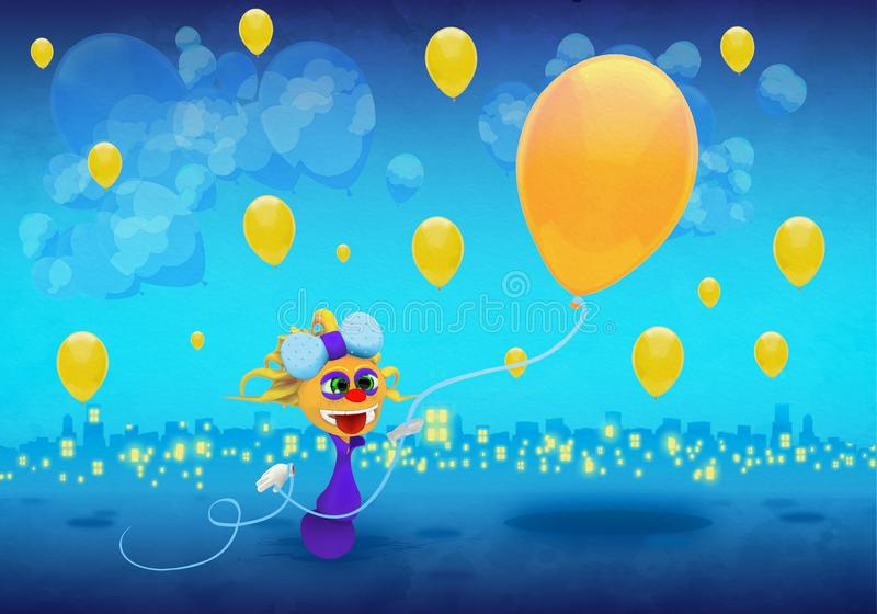 Cartoony Character With Yellow Balloons Illustration royalty free illustration