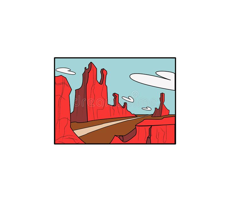 Cartoony Desert landscape with road and pinnacles. Blue sky and clouds vector illustration