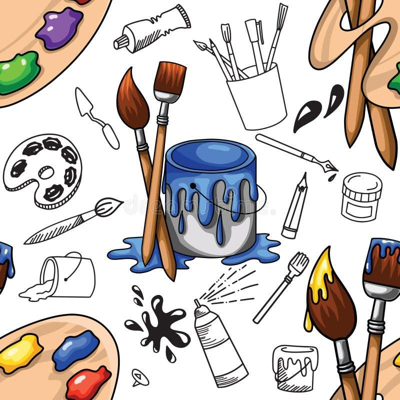 Cartoony e o artista sem emenda da ilustração da fonte da arte do esboço rabiscam o teste padrão do fundo no contexto branco ilustração stock
