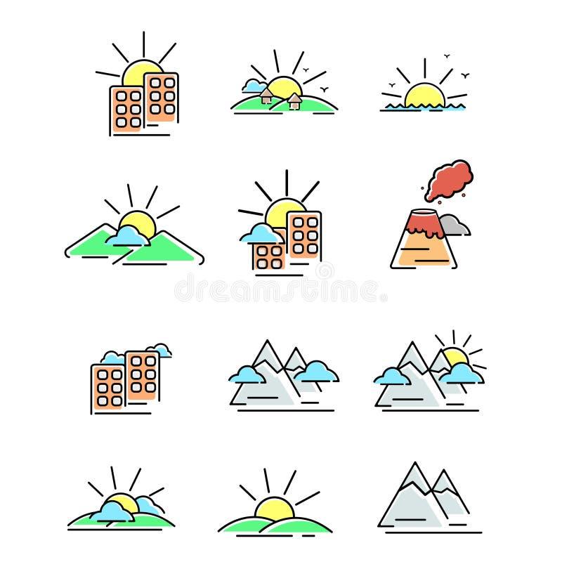 Cartoony-Landschaftikonensatz lizenzfreie abbildung