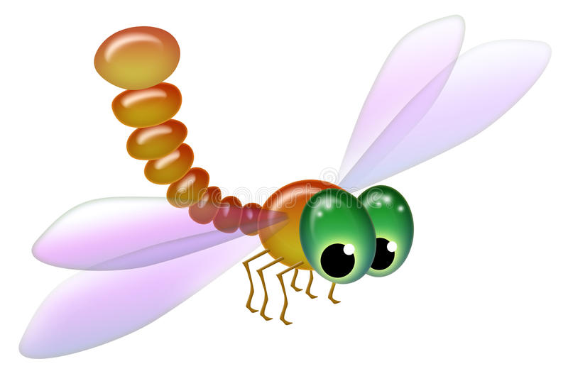 Cartoony przyglądał się dragonfly odizolowywającego na białym tle royalty ilustracja