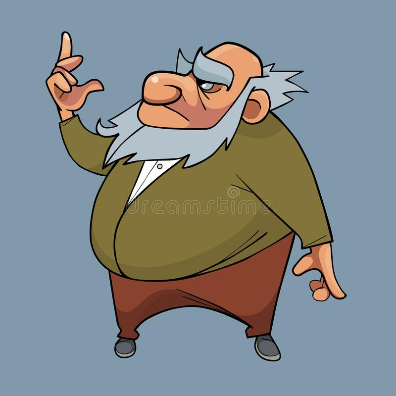 Cartoony serious bearded fat grandfather thoughtfully shows up royalty free illustration