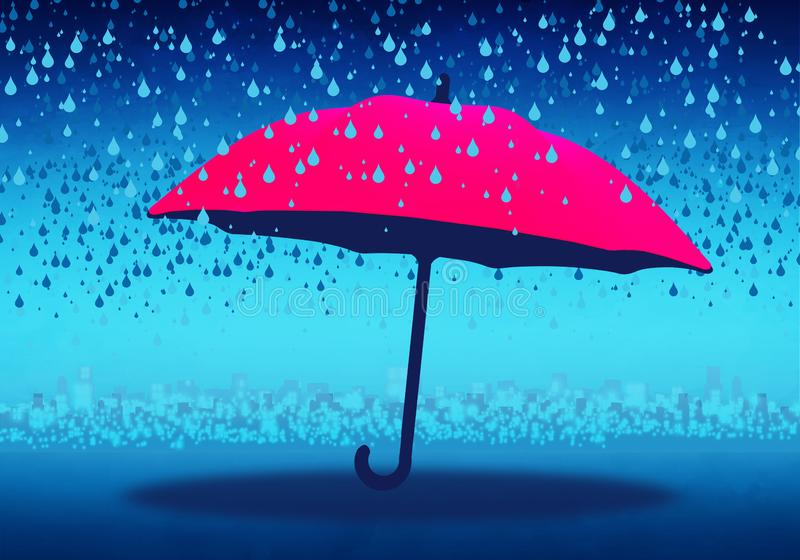 Cartoony Skyline Background with pink umbrella and rain. Illustration royalty free illustration