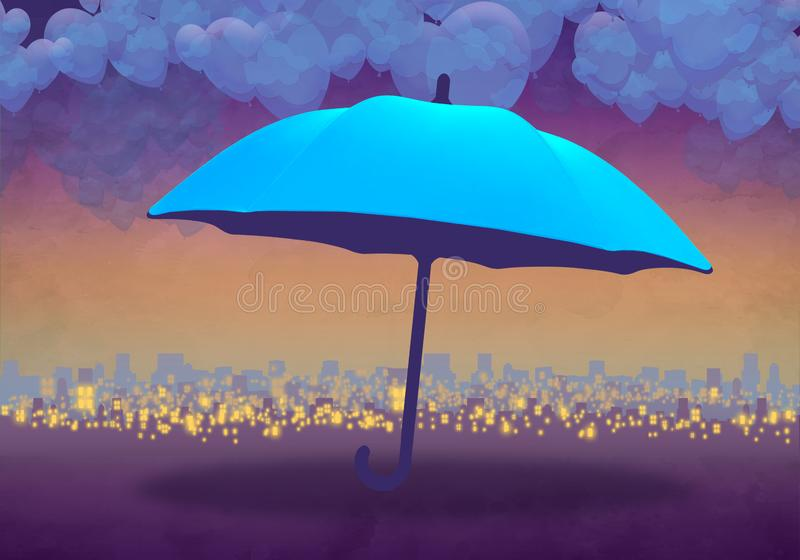 Cartoony Skyline Background at sunset with clouds and blue umbrella stock illustration