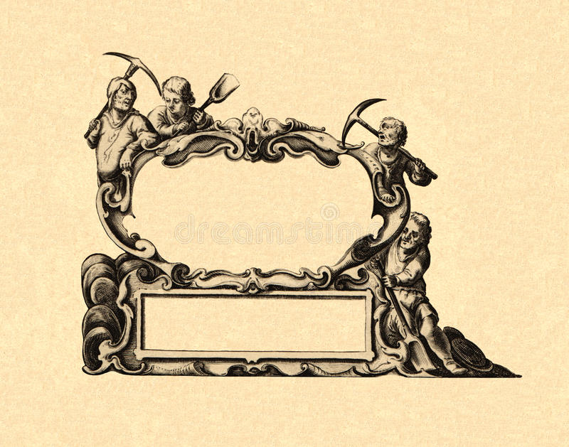 Cartouche. Of an ancient map royalty free illustration