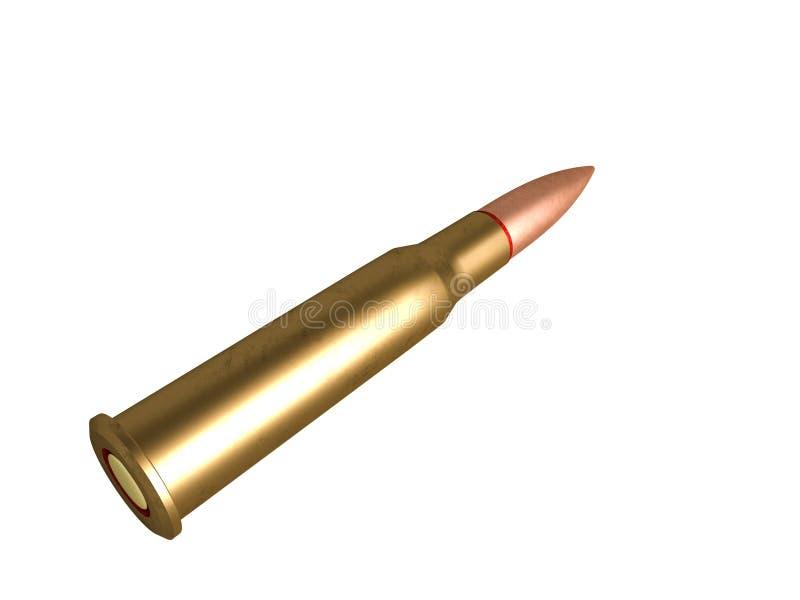 Cartouche calibre de 7,62 millim?tres avec le lien, balle de mitrailleuse armée de 62x54R millimètre, russe et soviétique, d'isol illustration de vecteur