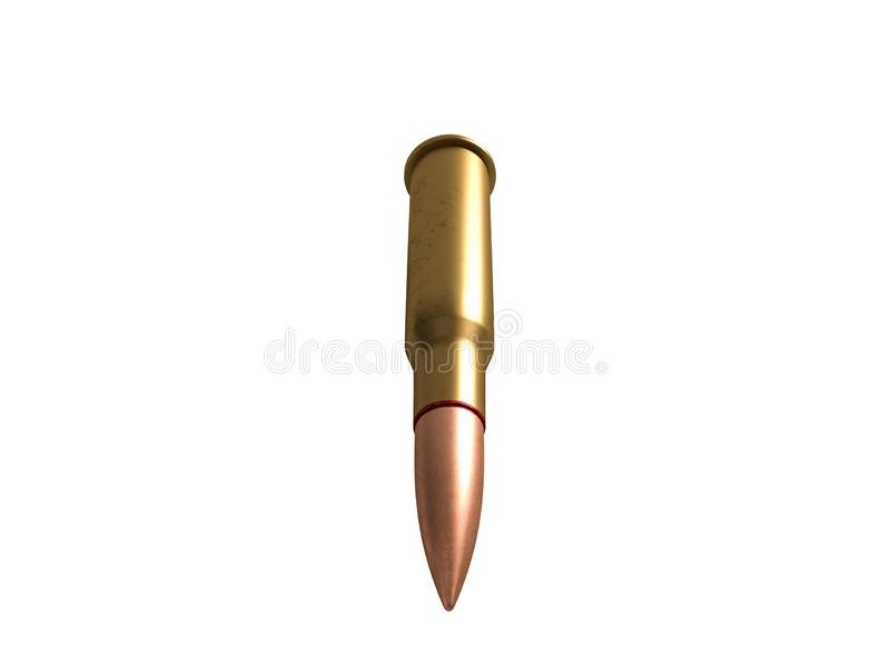 Cartouche calibre de 7,62 millim?tres avec le lien, balle de mitrailleuse armée de 62x54R millimètre, russe et soviétique, d'isol illustration stock