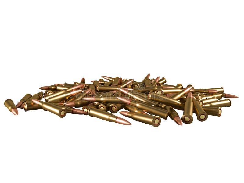 Cartouche calibre de 7,62 millim?tres avec le lien, balle de mitrailleuse armée de 62x54R millimètre, russe et soviétique, d'isol illustration libre de droits