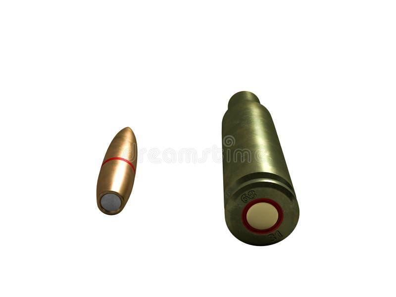 Cartouche calibre de 5,56 millim?tres, balle de mitrailleuse armée de 45x39 millimètre, russe et soviétique, d'isolement rendu 3d illustration de vecteur