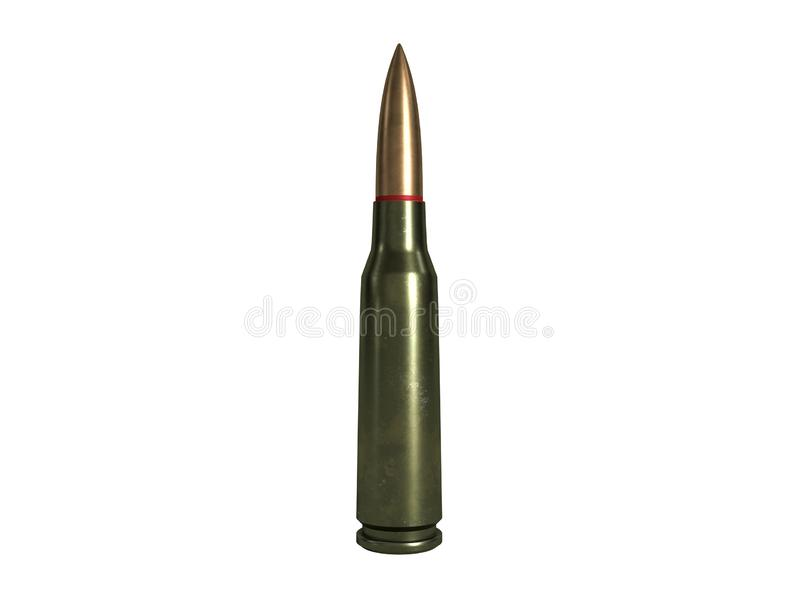 Cartouche calibre de 5,56 millim?tres, balle de mitrailleuse armée de 45x39 millimètre, russe et soviétique, d'isolement rendu 3d illustration libre de droits