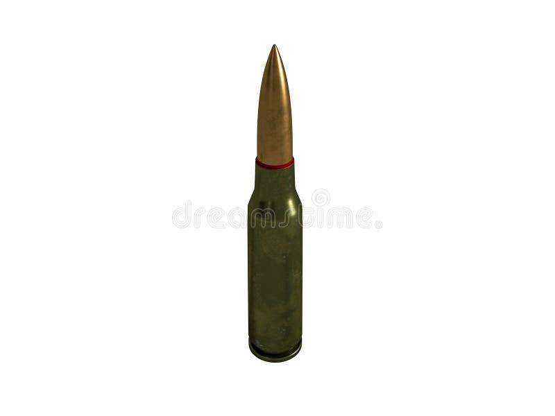 Cartouche calibre de 5,56 millim?tres, balle de mitrailleuse armée de 45x39 millimètre, russe et soviétique, d'isolement rendu 3d illustration stock