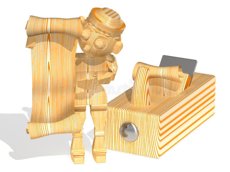 Cartouche-chips vertically. Three-dimensional cartoon image of a wooden man with a chip-cartouche in hands, standing near the plane. The image on a white royalty free illustration